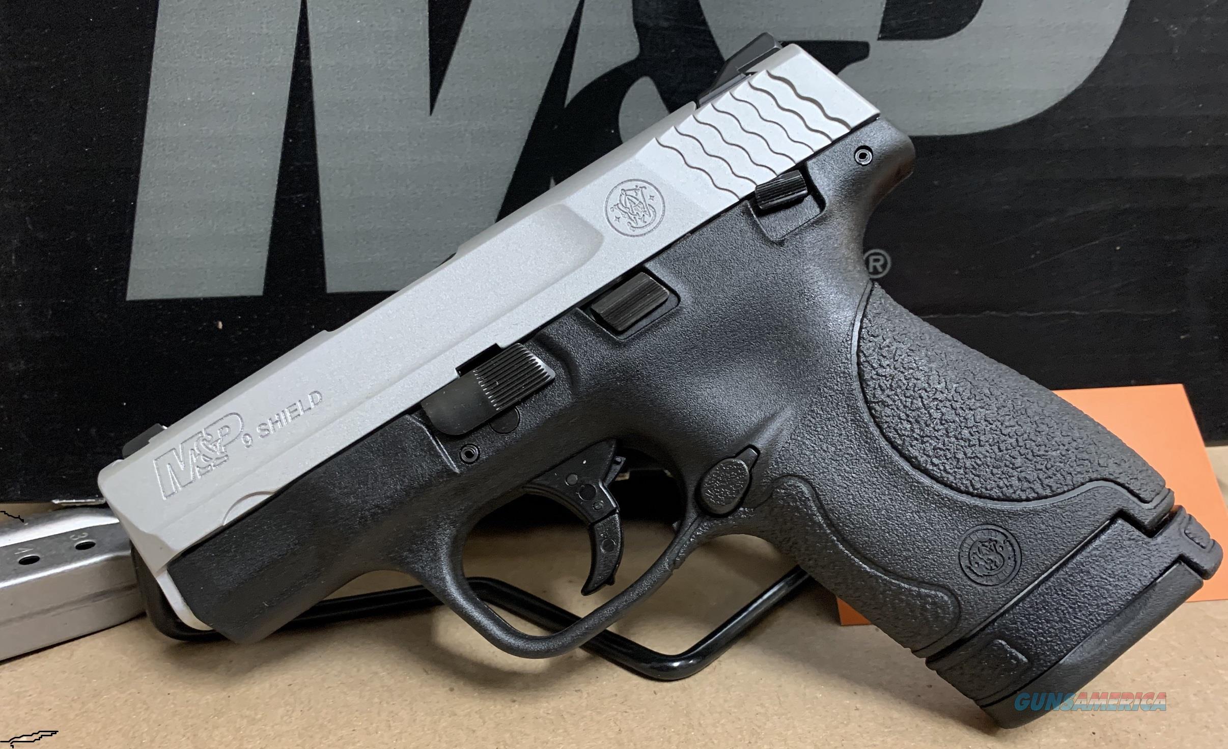 Smith & Wesson M&P 9 Shield 13219 9mm 7+1 8+1 Mags Satin Aluminum Cerakote *NO CREDIT CARD FEE*  Guns > Pistols > Smith & Wesson Pistols - Autos > Shield