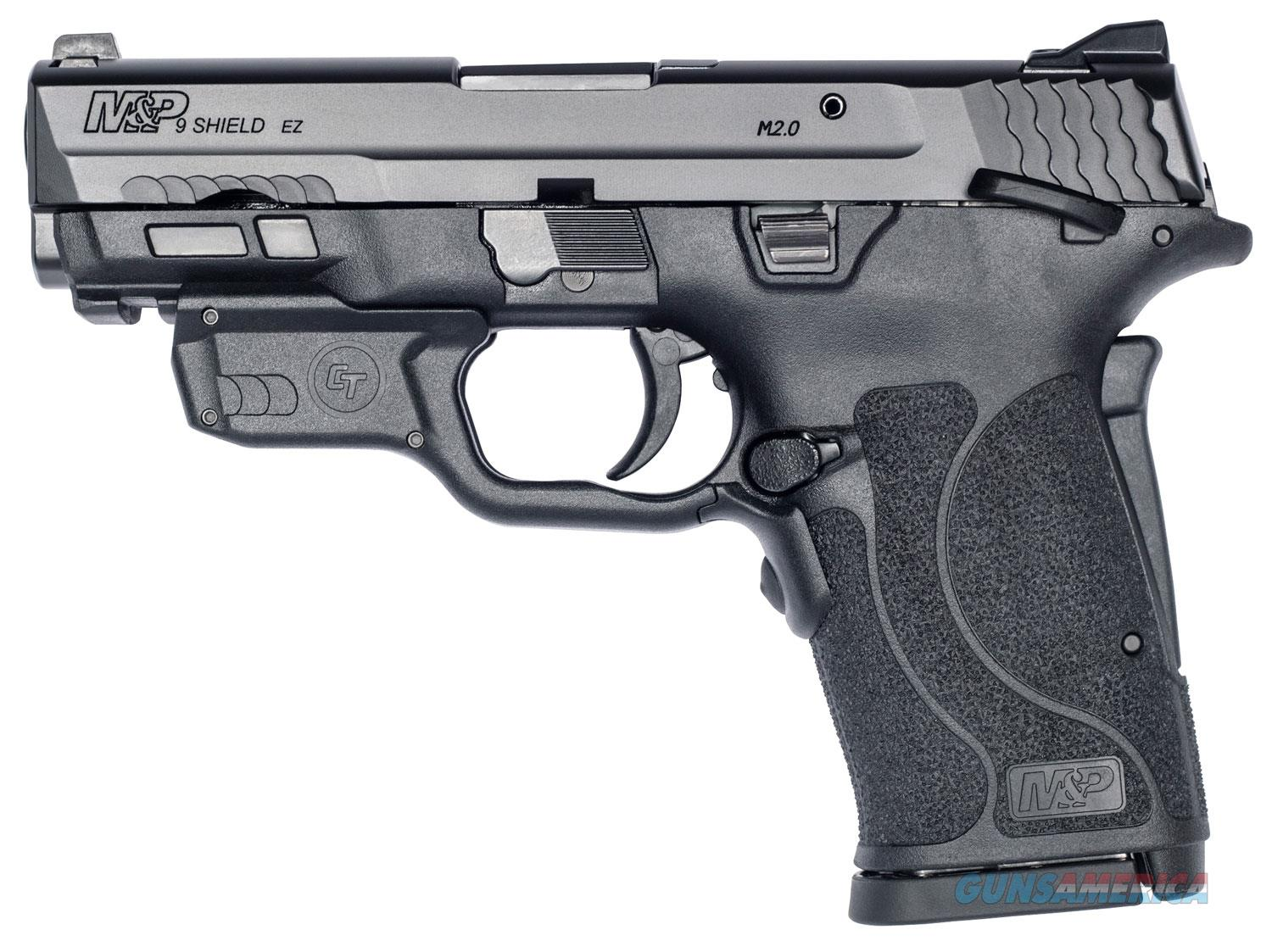 "Smith & Wesson 12438 M&P 9 Shield EZ M2.0 9mm Luger 3.68"" 8+1 Black Polymer Grip Thumb Safety Red Crimson Trace Laser  Guns > Pistols > Smith & Wesson Pistols - Autos > Shield"