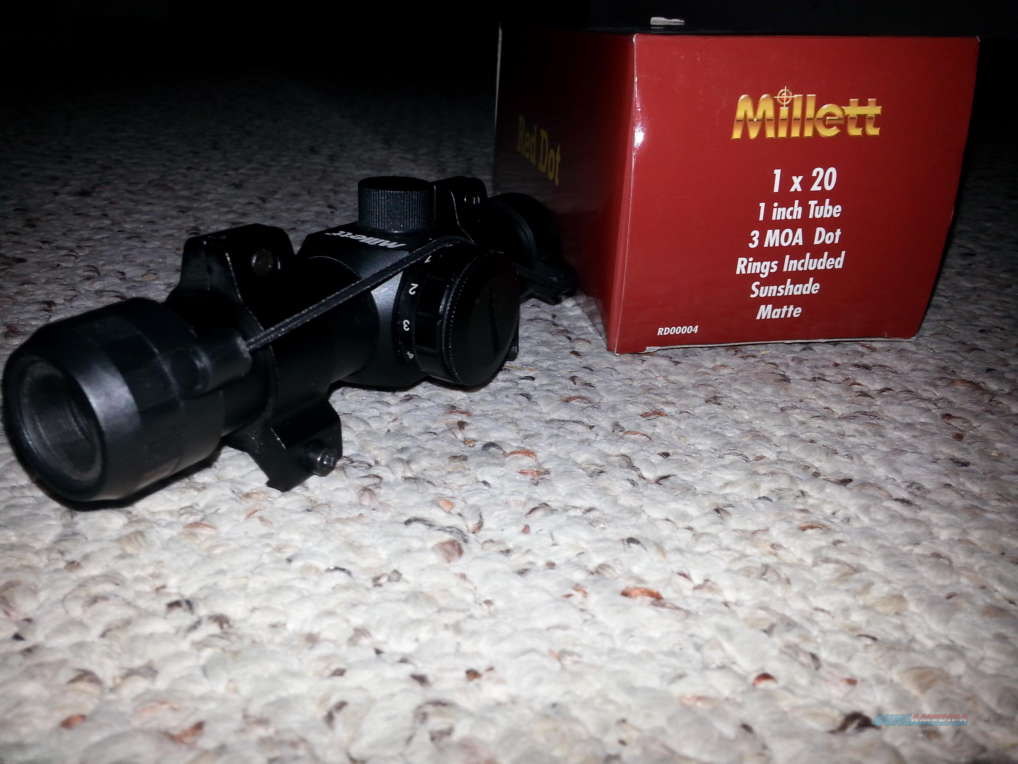 USED MILLETT 1X20 RED DOT 3MOA SCOPE RINGS INCLUDED FREE S/H  Non-Guns > Scopes/Mounts/Rings & Optics > Tactical Scopes > Red Dot