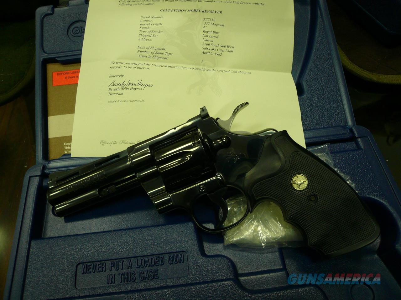 """REDUCED"" PYTHON ( ROYAL BLUE)  4""  1982 (FACTORY LETTERED) OK FOR CA PPT  Guns > Pistols > Colt Double Action Revolvers- Modern"