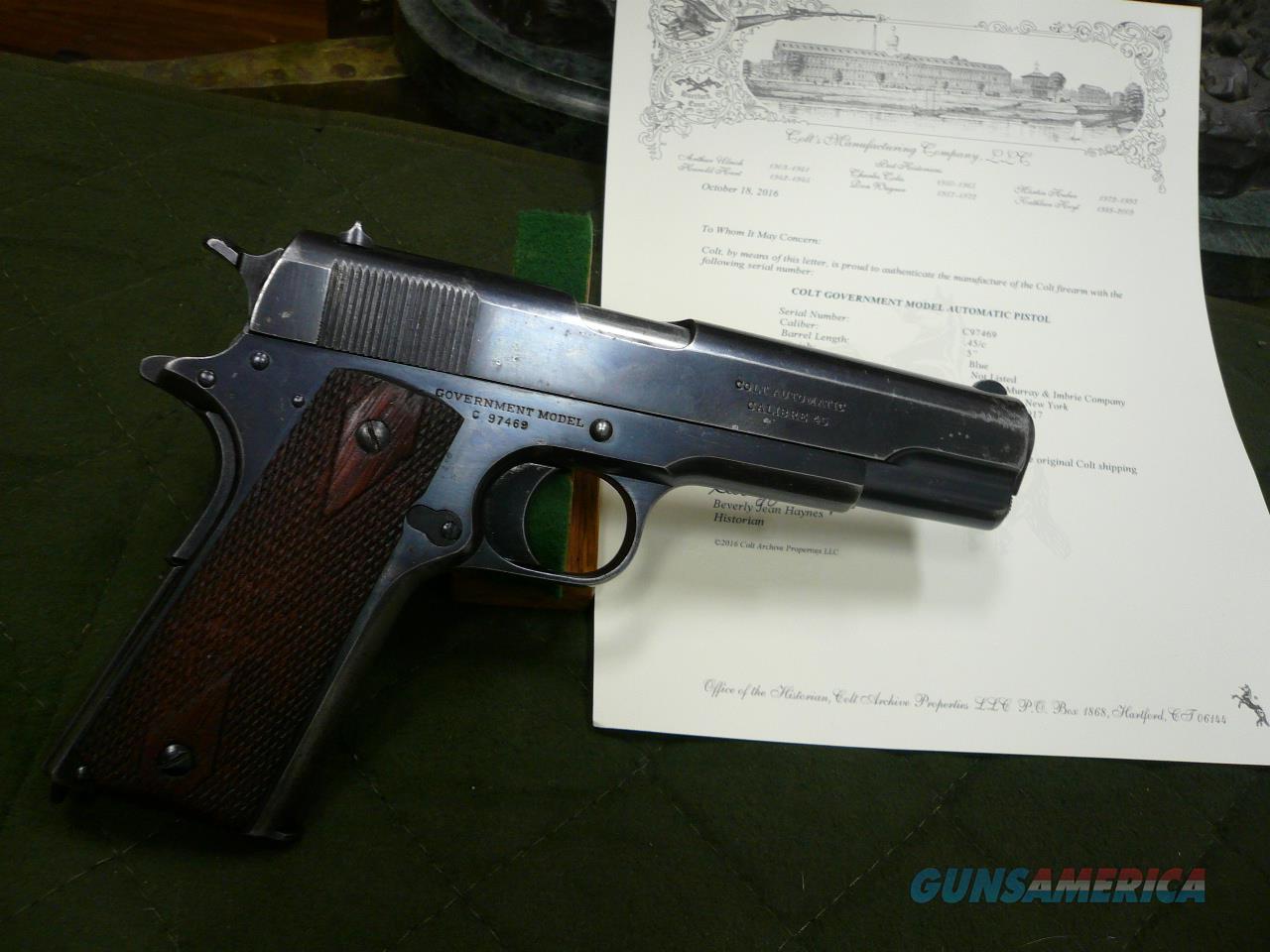 1911-COMMERCIAL 45AP 1917 (COLT ARCHIVE LETTER)  Guns > Pistols > Colt Automatic Pistols (1911 & Var)