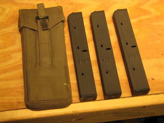 Three UZI Mags & Surplus Magazine Pouch 9mm 32rd  Non-Guns > Magazines & Clips > Rifle Magazines > Other