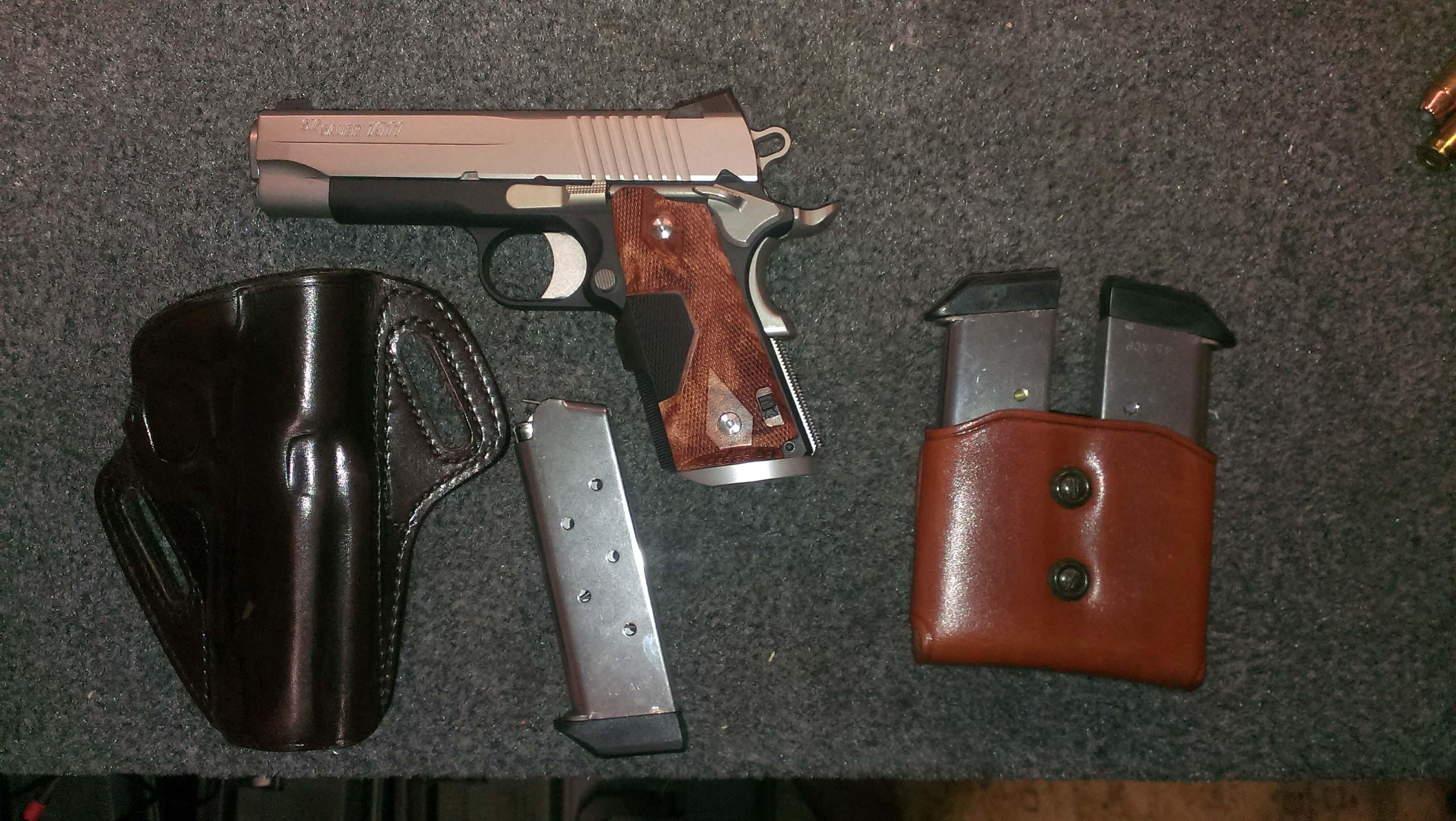 LN SIG SAUER 1911 C3 WITH CRIMSON TRACE GRIPS, 3 MAGS, GALCO HOLSTER AND MAGAZINE HOLSTER  Guns > Pistols > 1911 Pistol Copies (non-Colt)