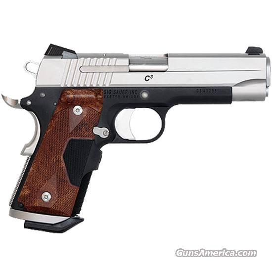 SIG SAUER 1911 C3 CRIMSON TRACE GRIPS, MAG WELL, NIGHT SIGHTS TWO TONE NEW  Guns > Pistols > 1911 Pistol Copies (non-Colt)