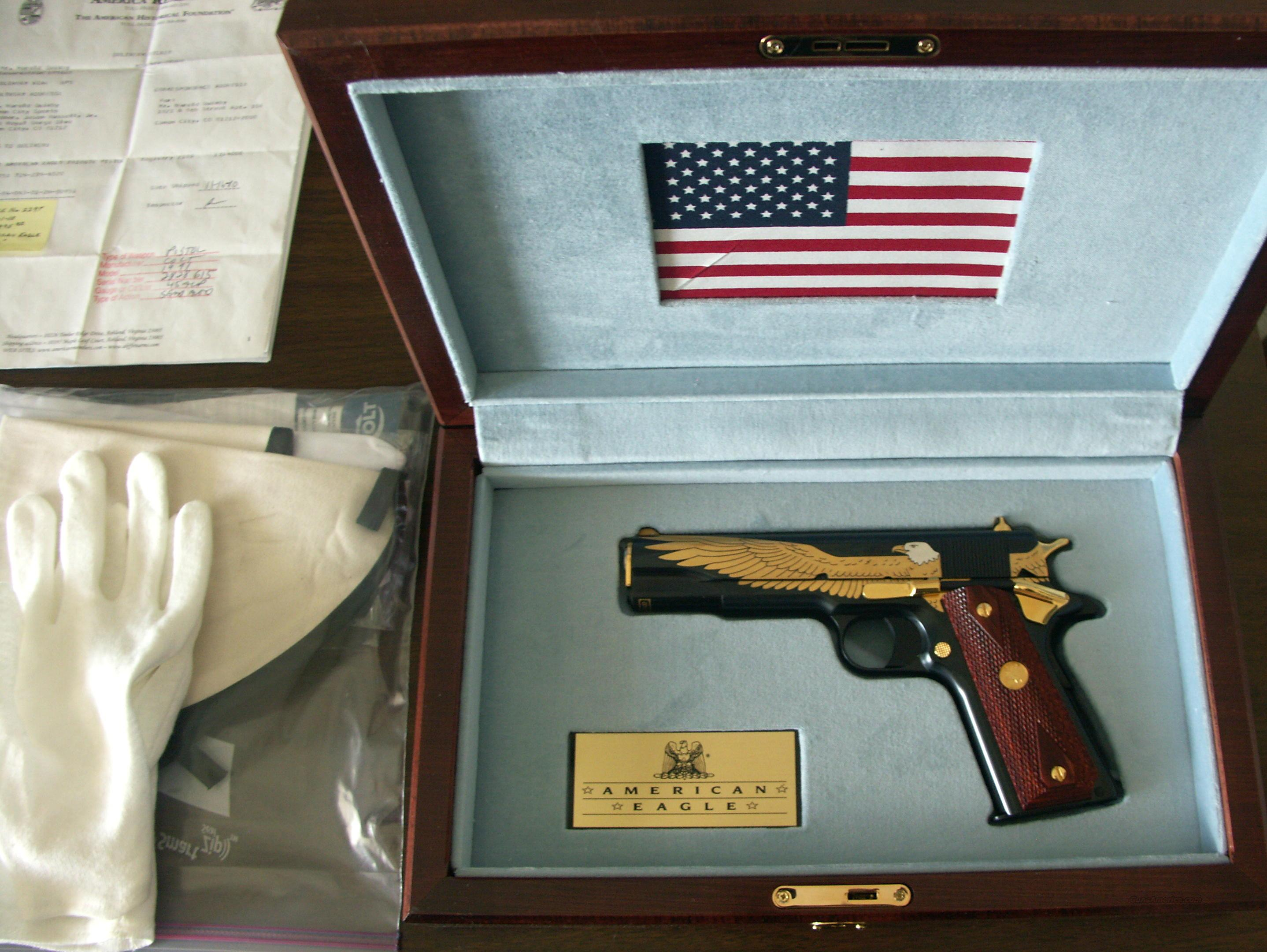 "Colt Model:1991, .45 ACP, 5"" Barrel, Blue Finish, ""American Eagle Tribute Pistol"" NEW IN BOX, NEVER FIRED!!!   Guns > Pistols > Colt Automatic Pistols (1911 & Var)"