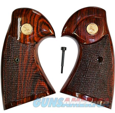 Colt Python I Frame Rosewood Grips, Checkered With Medallions  Non-Guns > Gun Parts > Grips > Other