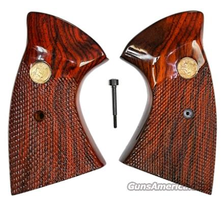 Colt MKIII Trooper & Lawman Rosewood Grips, Checkered With Medallions  Non-Guns > Gun Parts > Grips > Other
