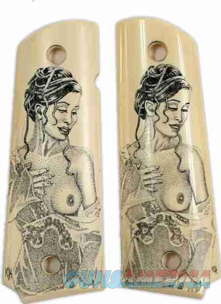 Colt 1911 Real Ivory Scrimshaw with Nude Lady   Non-Guns > Gun Parts > Grips > 1911