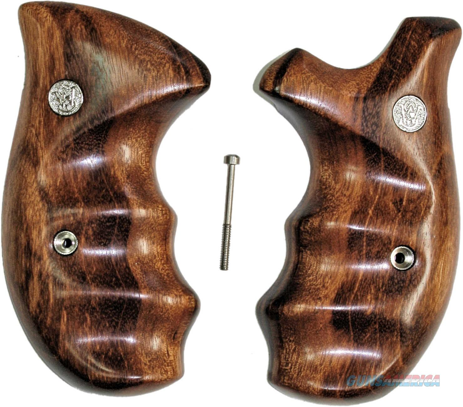 Smith & Wesson K & L Frame Smooth Goncalo Alves Wood Combat Grips, Round Butt  Non-Guns > Gun Parts > Grips > Smith & Wesson