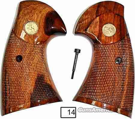 Colt I Frame Python Goncalo Alves Checkered with Gold Colt Medallions  Non-Guns > Gun Parts > Grips > Other