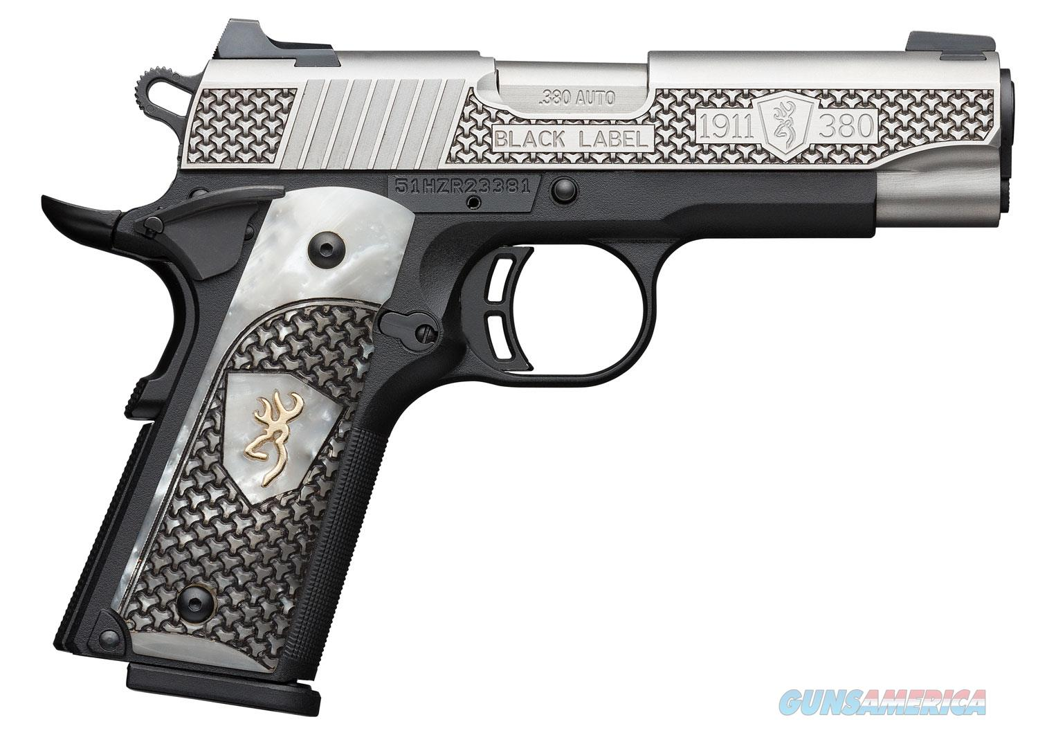 Browning 1911 380ACP Pistol - White Pearl Engraved Grip  Guns > Pistols > Browning Pistols > Other Autos