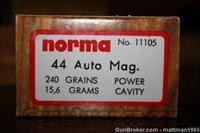 Norma 44 Auto Mag Ammunition 240 Grain Ammo  Non-Guns > Ammunition