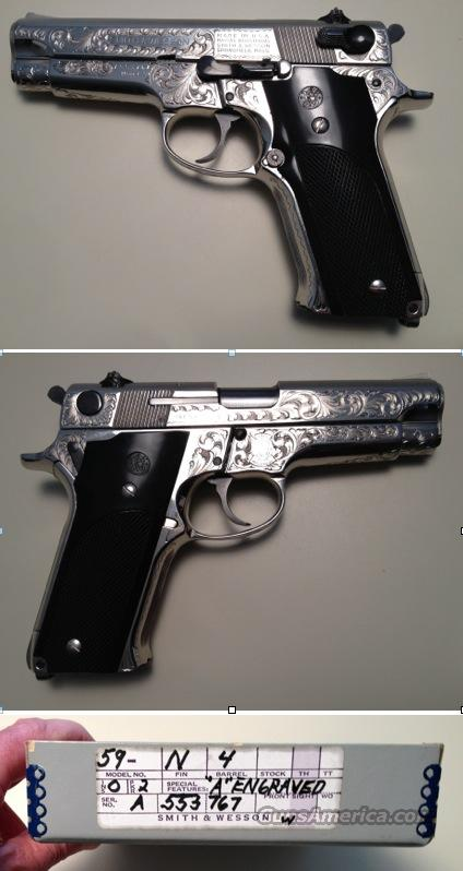 "Smith & Wesson 59 Nickel Class ""A"" engraved  Guns > Pistols > Smith & Wesson Pistols - Autos > Alloy Frame"
