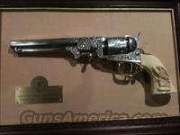 COLT WILD BILL HICKOK ENGRAVED REPLICA REVOLVER WITH DISPLAY FRAME- 38 CAL. NICKEL AND GOLD FINISH BEAUTIFUL COLLECTIBLE PIECE  Non-Guns > Black Powder Cartridge