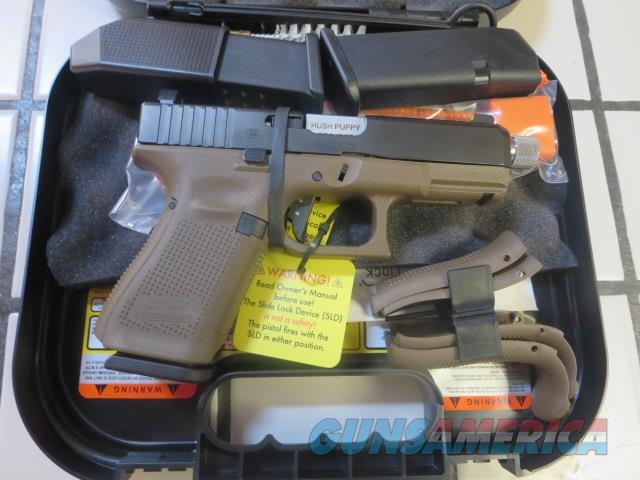 Glock 19 Gen5 Hush Puppy 9mm NIB 15+1 3 mags Threaded Barrel, Tritium Night Sights Slide Lock Device Vickers Trigger Ghost Connector  Guns > Pistols > Glock Pistols > 19/19X