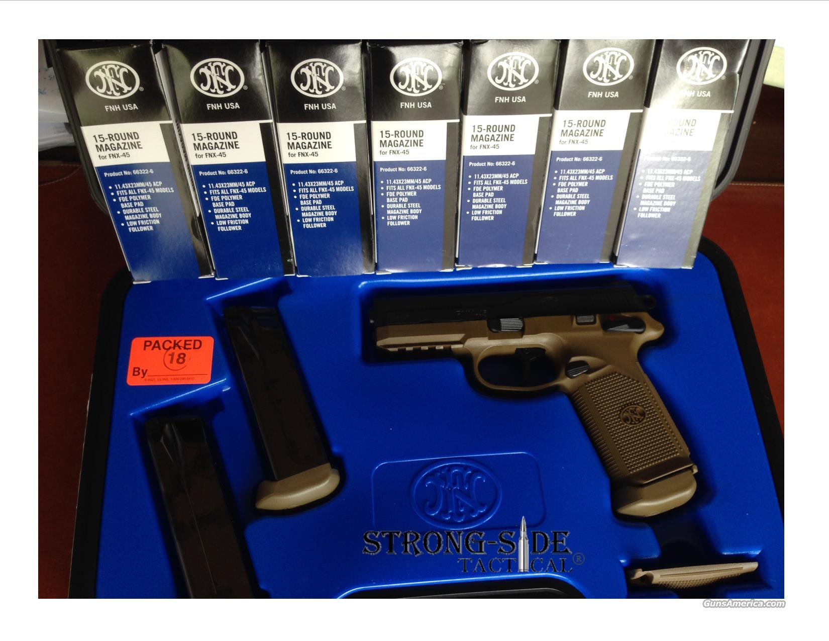 FNH USA FNX-45 PACKAGE! FLAT DARK EARTH PISTOL + TEN 15 round Magazines with FDE bumpered bottoms (SHIPS FOR FREE, NO CREDIT CARD FEES)  Guns > Pistols > FNH - Fabrique Nationale (FN) Pistols > FNP