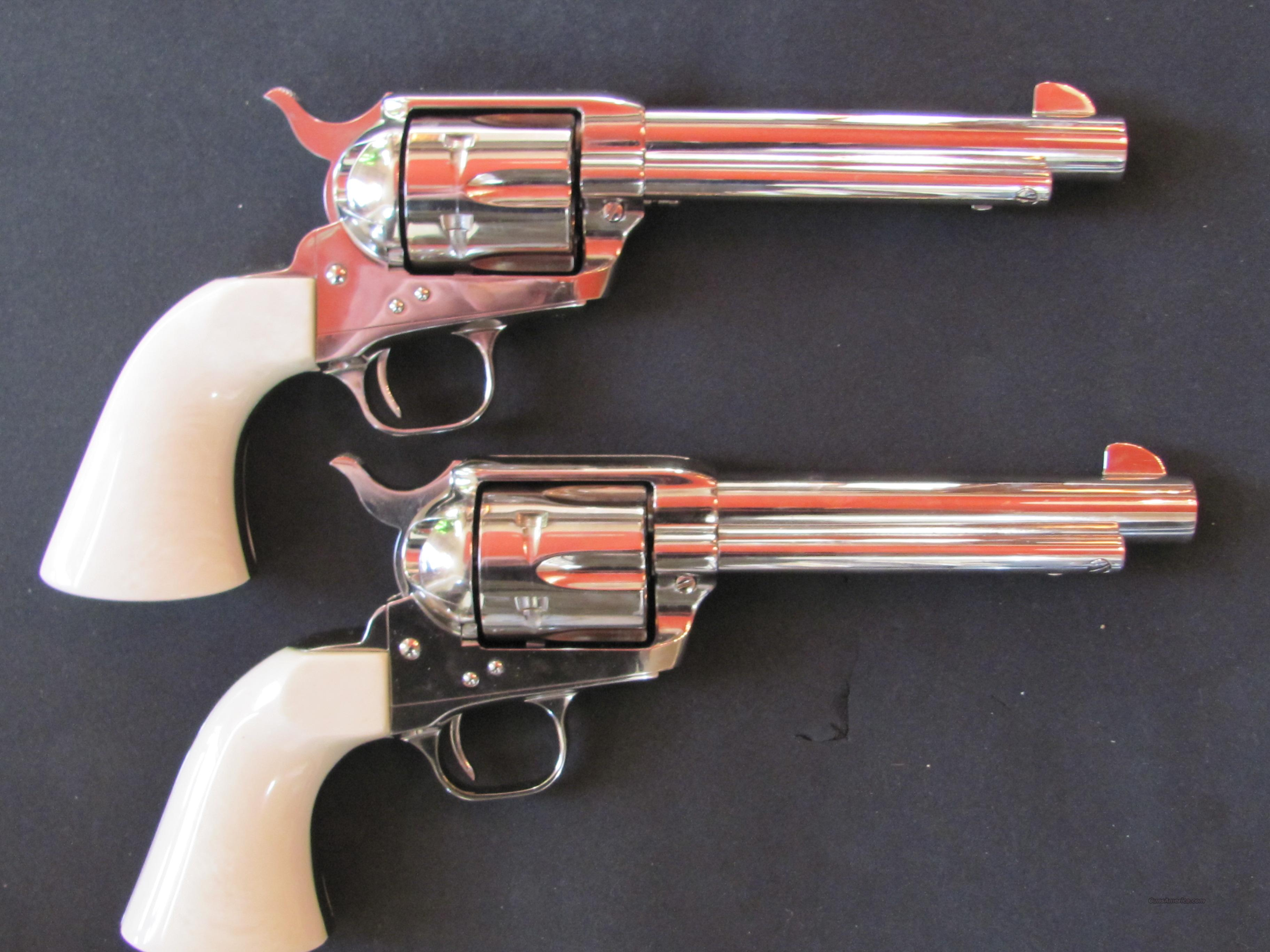Matched Pair SAA Colt .45 Nickel Plated Consecutive Numbered Pair  Guns > Pistols > Colt Single Action Revolvers - 3rd Gen.