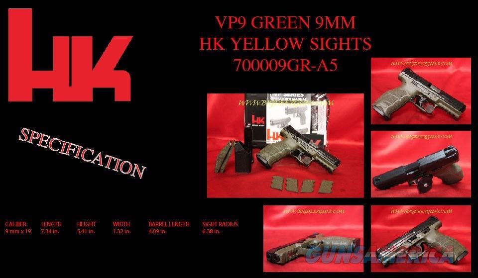 HK VP9 GREEN 9mm Heckler Koch 15r 2 mag M700009GR  Guns > Pistols > Heckler & Koch Pistols > Polymer Frame