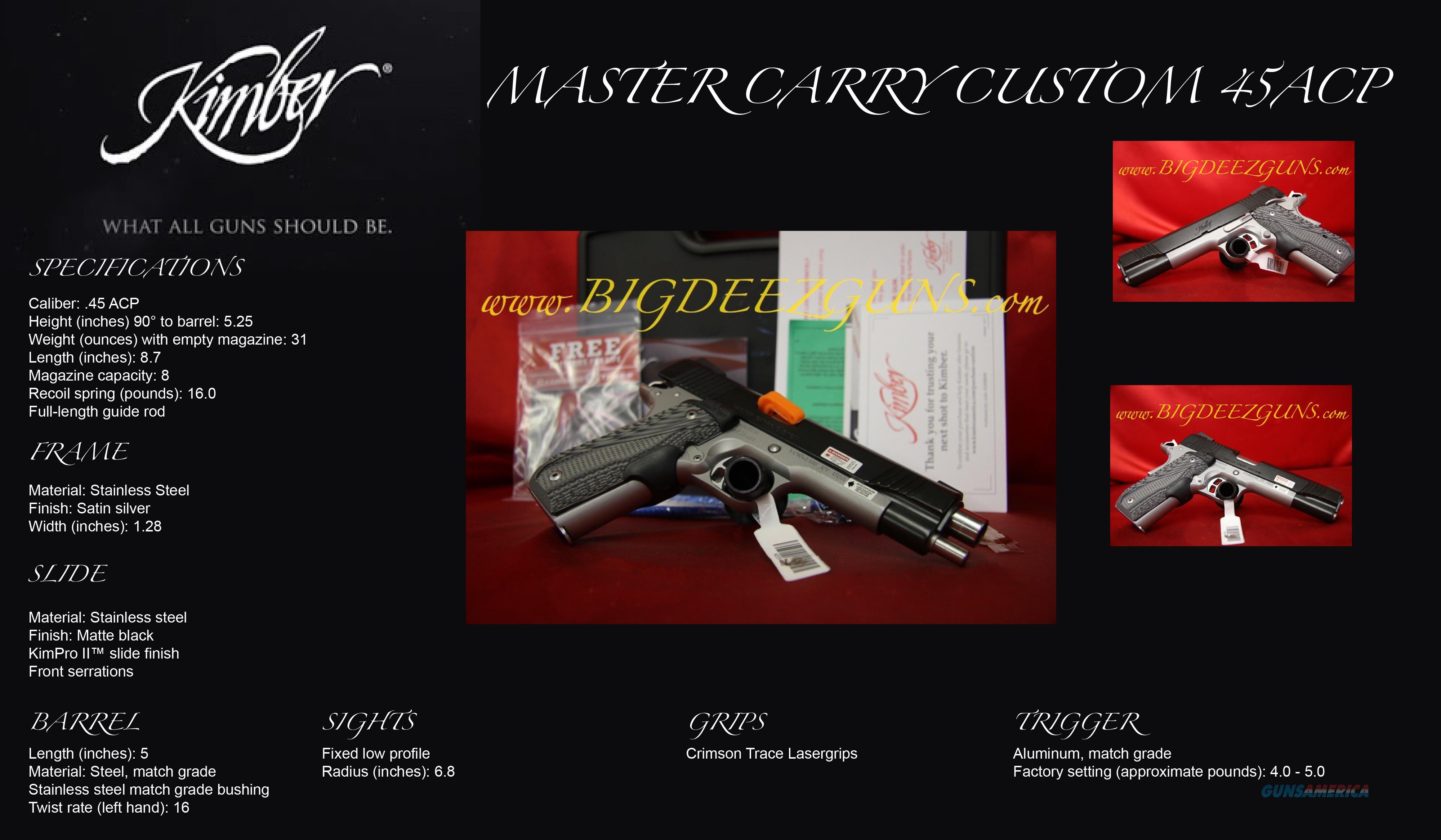 Kimber MASTER CARRY CUSTOM LASER GRIP 1911 45ACP  Guns > Pistols > Kimber of America Pistols > 1911