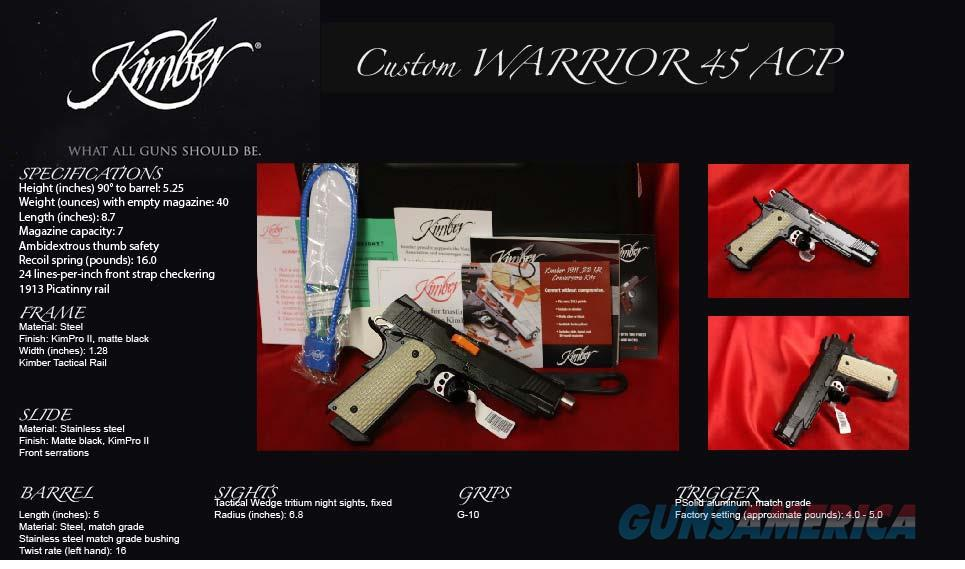 Kimber Warrior 1911 45ACP NIGHT SIGHTS G-10 GRIPS  Guns > Pistols > Kimber of America Pistols > 1911