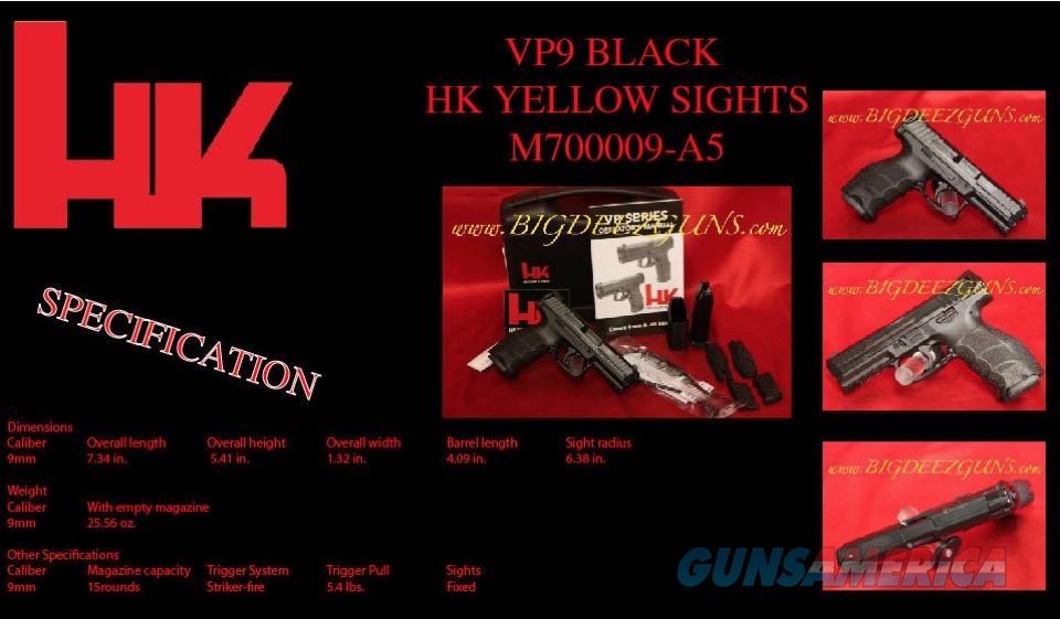 Heckler Koch HK VP9 BLACK 15r 9mm 2 mag M700009-A5  Guns > Pistols > Heckler & Koch Pistols > Polymer Frame