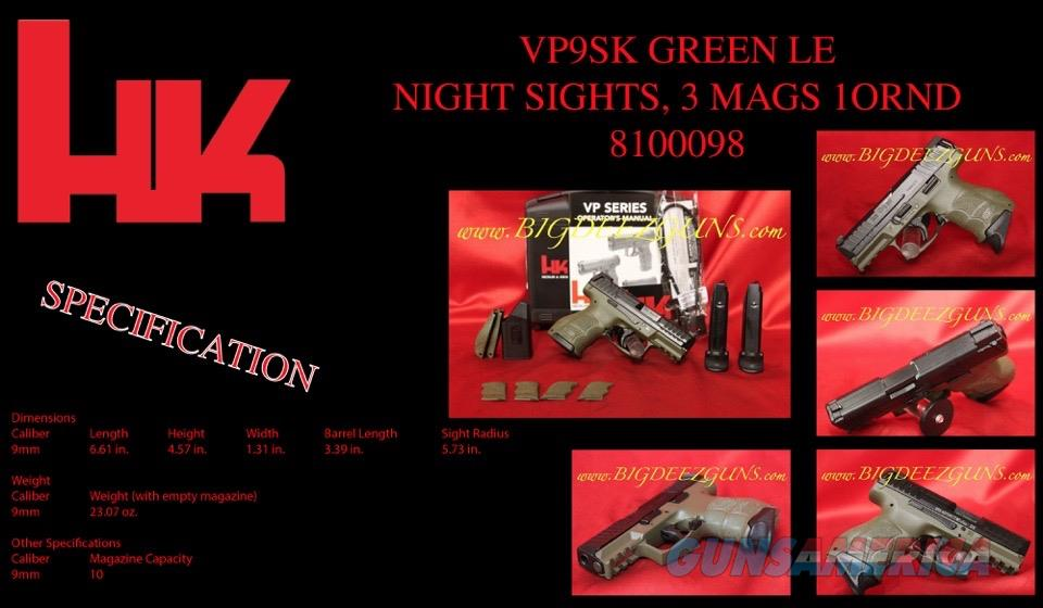 Heckler Koch HK VP9SK GREEN LE 9 Night Sight 3 MAG  Guns > Pistols > Heckler & Koch Pistols > Polymer Frame