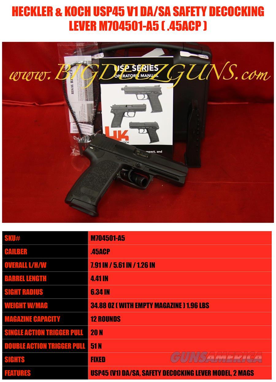 HK USP45 USP V1 Safety Decocking Lever DA SA 45acp  Guns > Pistols > Heckler & Koch Pistols > Polymer Frame