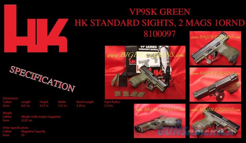 Heckler Koch HK VP9SK GREEN 9mm 2 Mags 81000097   Guns > Pistols > Heckler & Koch Pistols > Polymer Frame