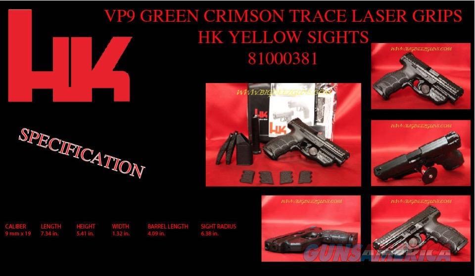 HK VP9 GREEN CRIMSON TRACE GRIP LASER 9mm 81000381  Guns > Pistols > Heckler & Koch Pistols > Polymer Frame