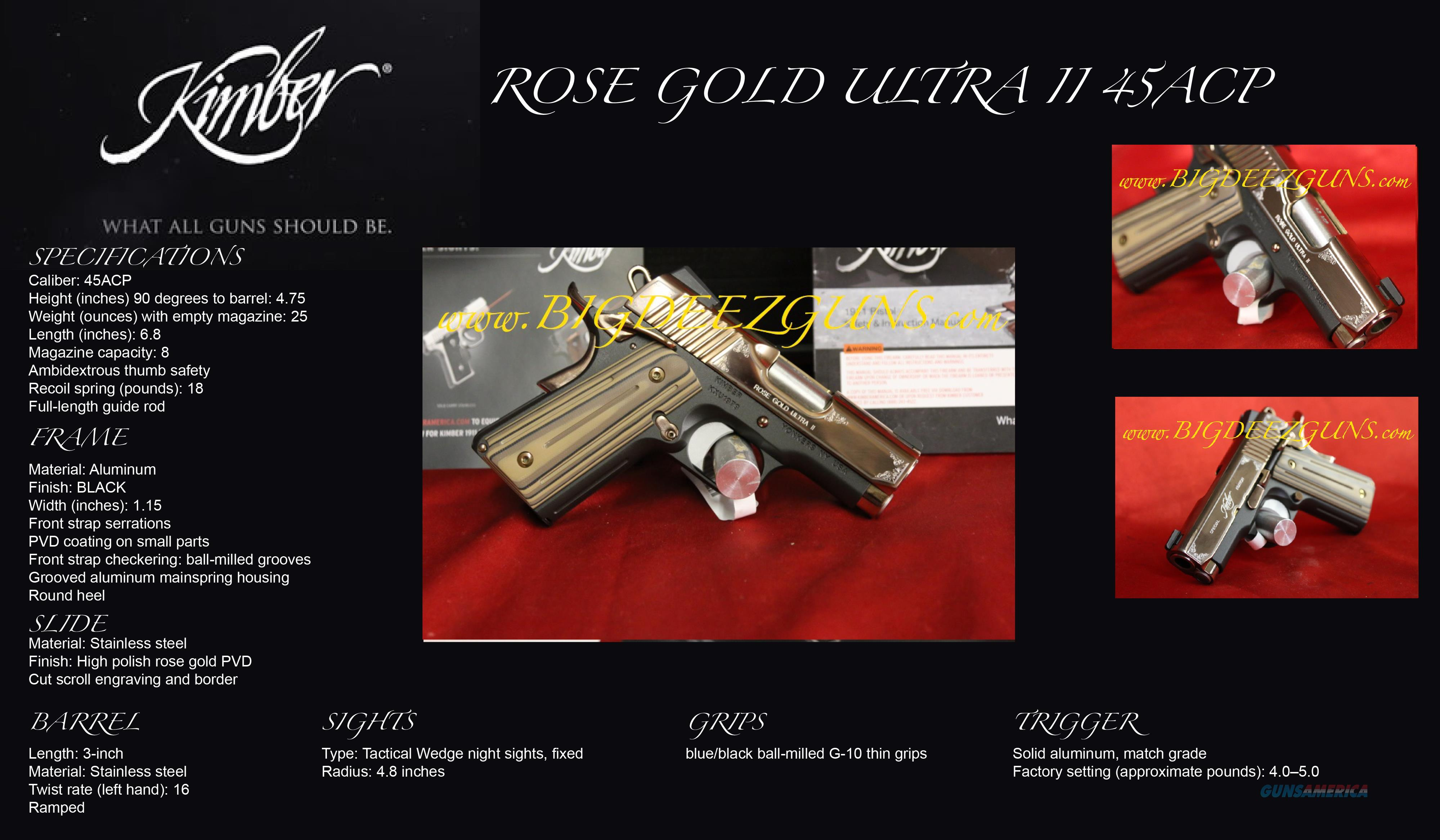 Kimber ULTRA ROSE GOLD II 1911 OFFICER 45ACP  Guns > Pistols > Kimber of America Pistols > 1911