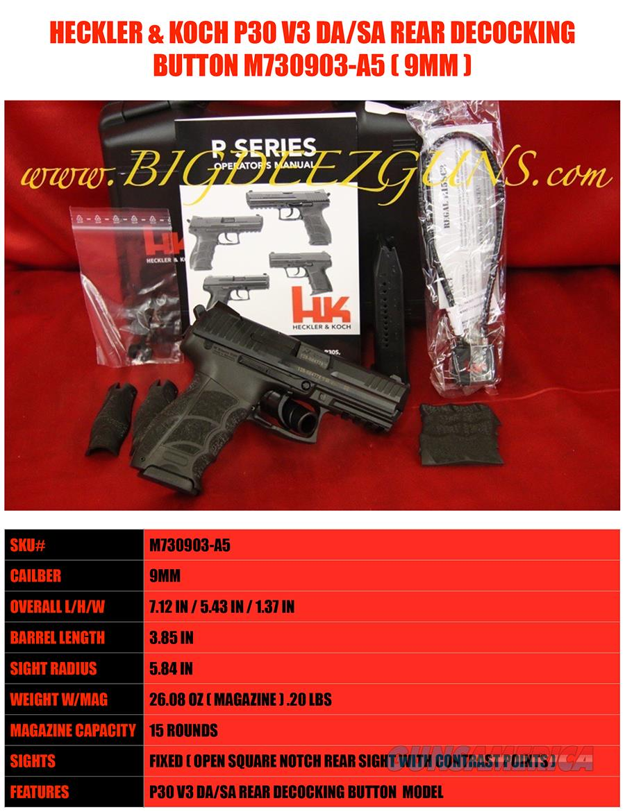 Heckler & Koch HK P30 V3 9MM REAR DECOCKING BUTTON DA / SA (2) 15 ROUND MAGS M730903-A5  Guns > Pistols > Heckler & Koch Pistols > Polymer Frame