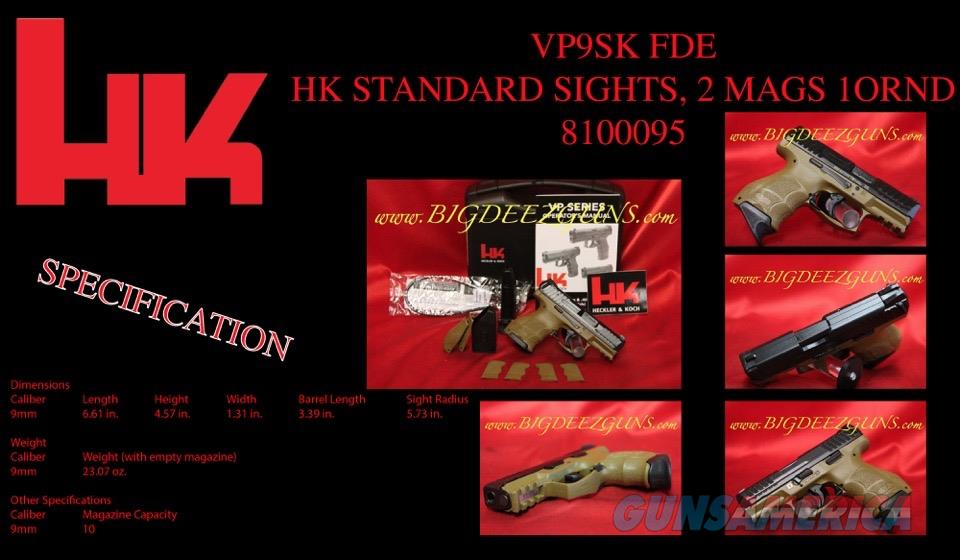Heckler Koch HK VP9SK FDE 9mm Sub Compact CONCEAL  Guns > Pistols > Heckler & Koch Pistols > Polymer Frame