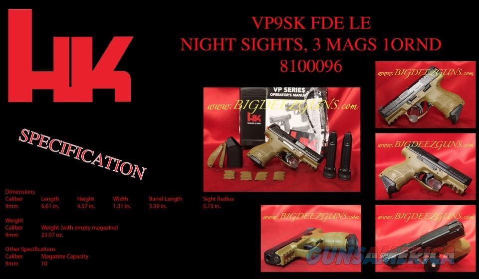 Heckler Koch HK VP9SK FDE LE Night Sight 9mm 3 mag  Guns > Pistols > Heckler & Koch Pistols > Polymer Frame