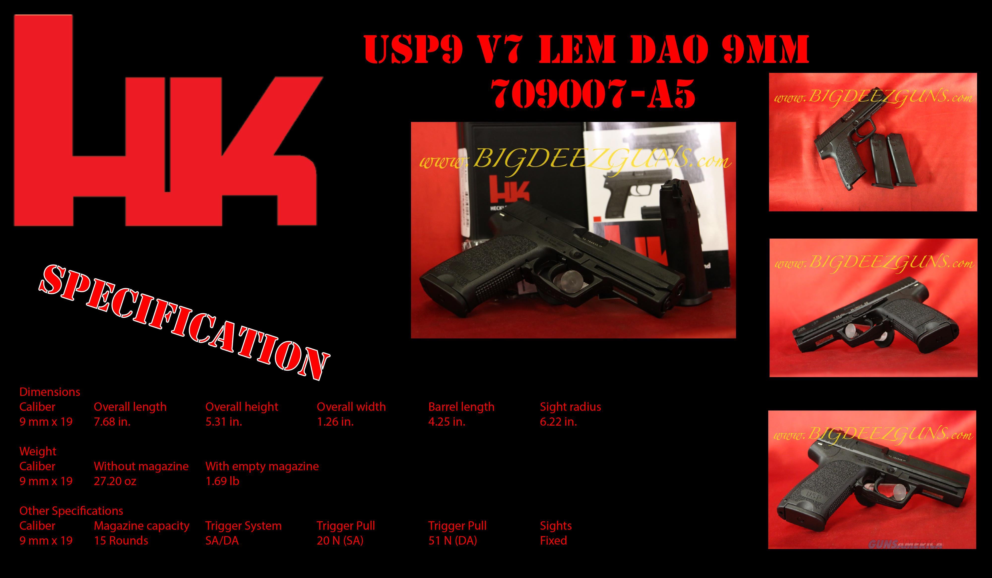Hk USP USP9 V7 LEM DAO 9mm 2 mag 15rn Heckler Koch  Guns > Pistols > Heckler & Koch Pistols > Polymer Frame