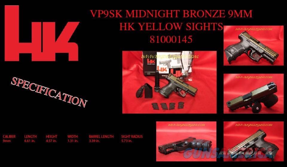 Hk VP9SK MIDNIGHT BRONZE 9mm 81000145 CONCEAL 9 HK  Guns > Pistols > Heckler & Koch Pistols > Polymer Frame