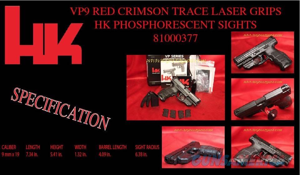 HK VP9 RED CRIMSON TRACE GRIP LASER 9mm 81000377  Guns > Pistols > Heckler & Koch Pistols > Polymer Frame