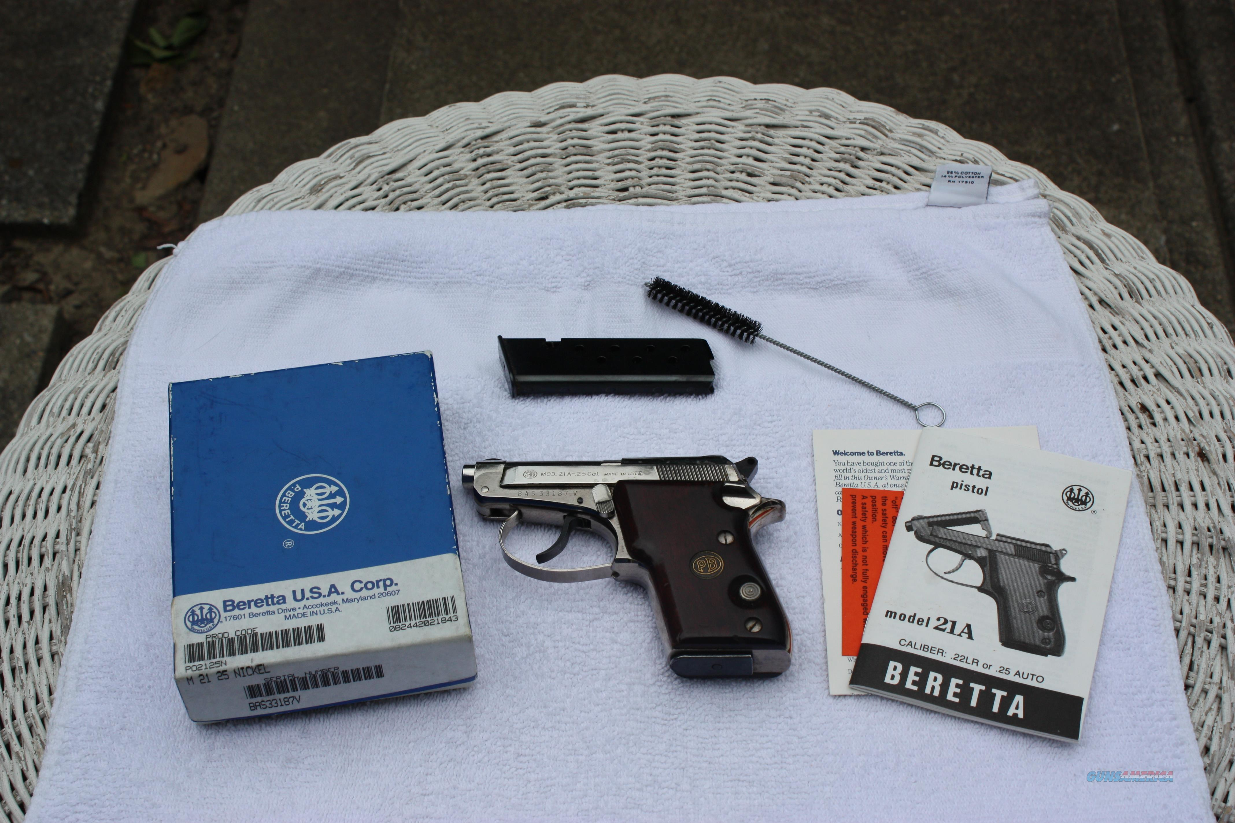 Beretta 21A .25ACP W Box and papers  Guns > Pistols > Beretta Pistols > Small Caliber Tip Out