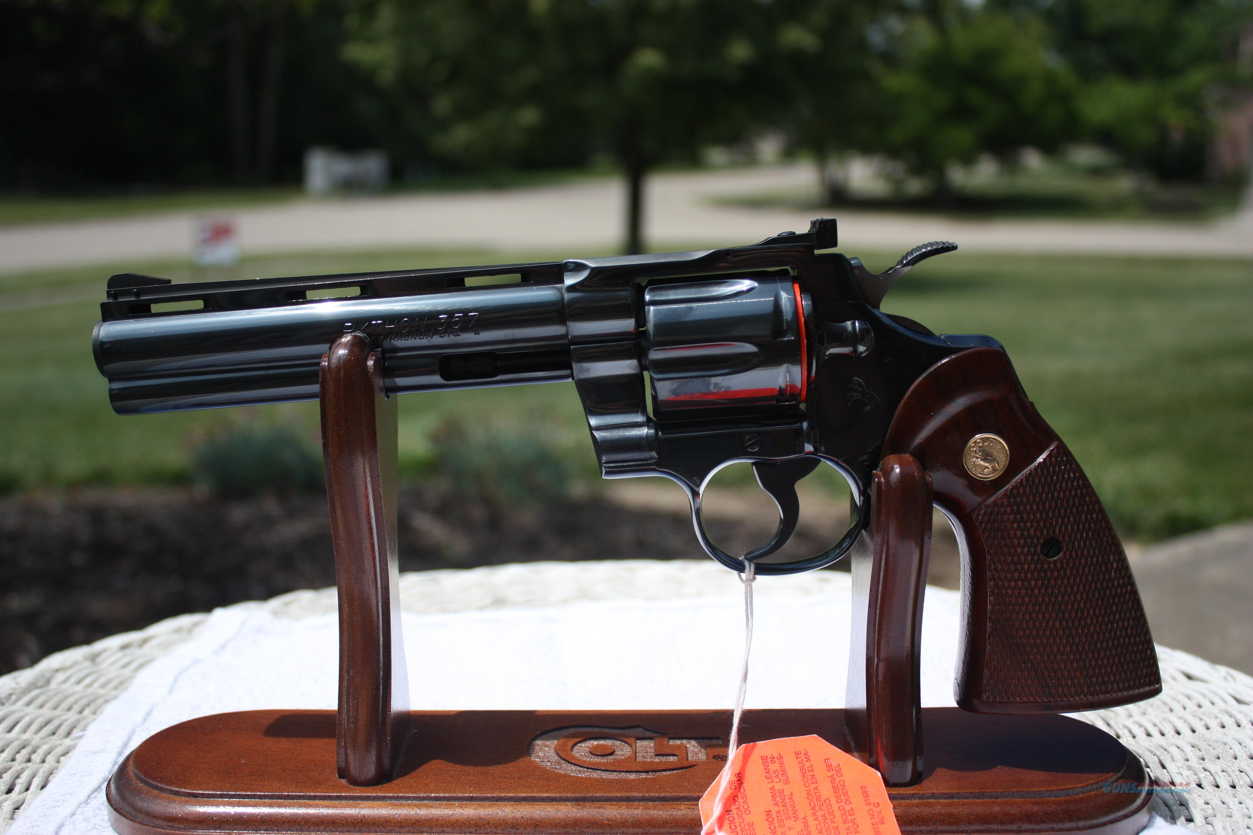 "Colt Python 6""Royal Blue Collector Grade W/Box  Guns > Pistols > Colt Double Action Revolvers- Modern"