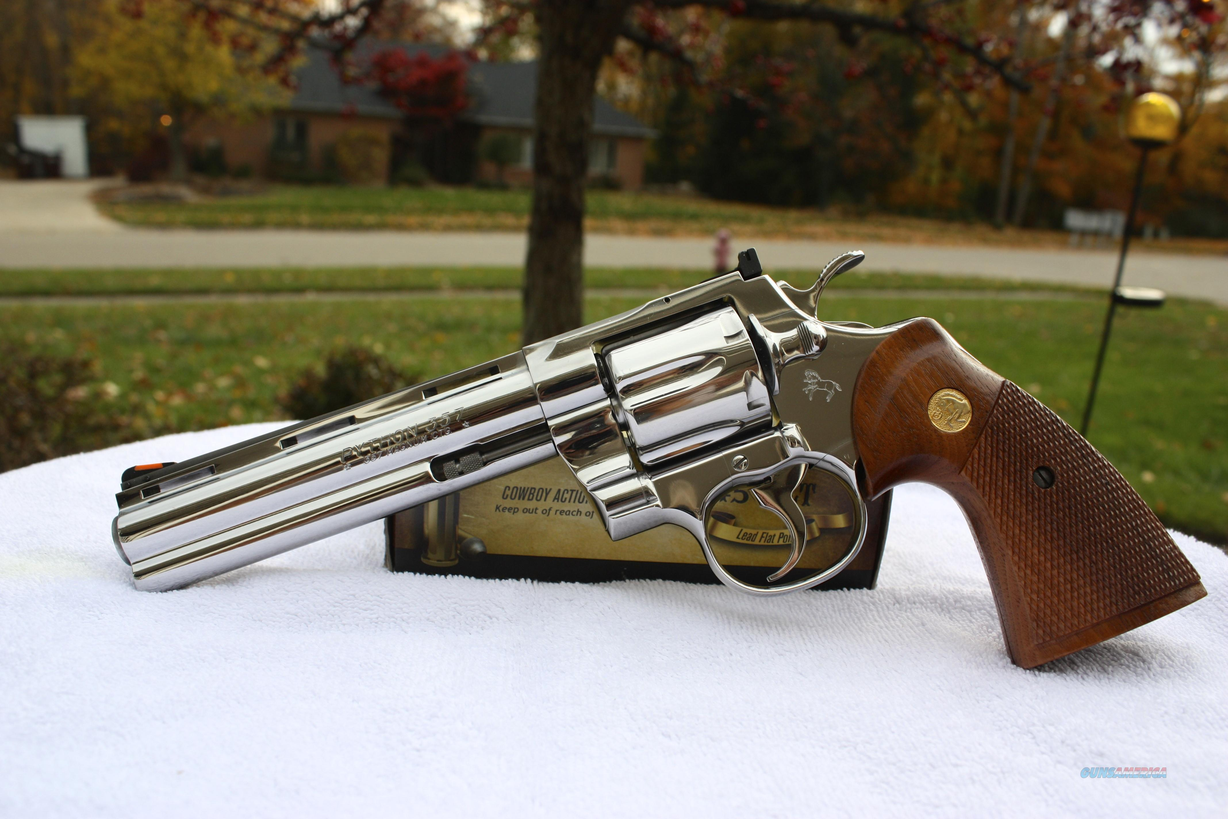 "Colt Python 6"" Bright Stainless Steel Original Box Papers MINT  Guns > Pistols > Colt Double Action Revolvers- Modern"