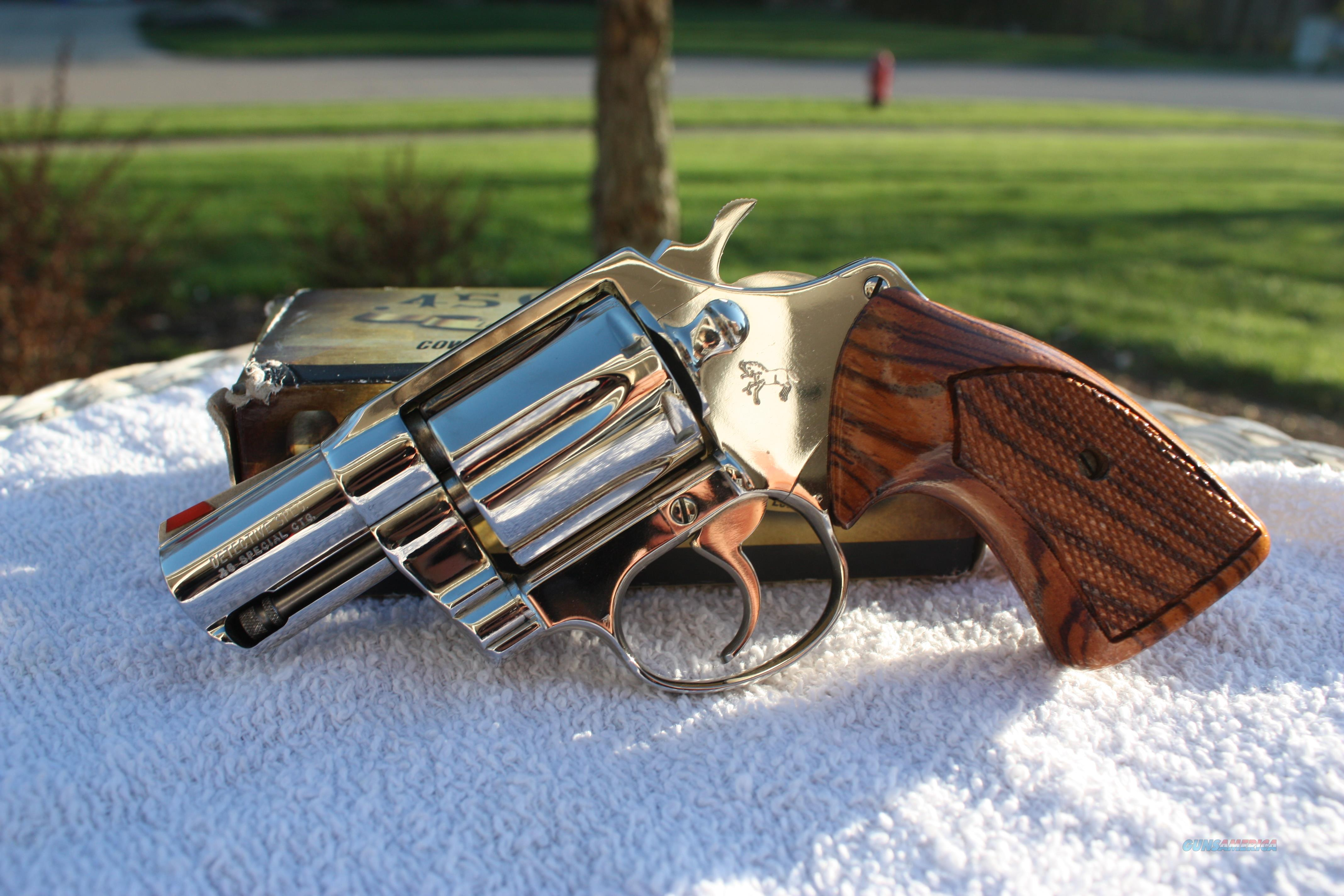 Colt Detective Special Nickel Red Ramp/Zebra Grips in Wood Case  Guns > Pistols > Colt Double Action Revolvers- Modern