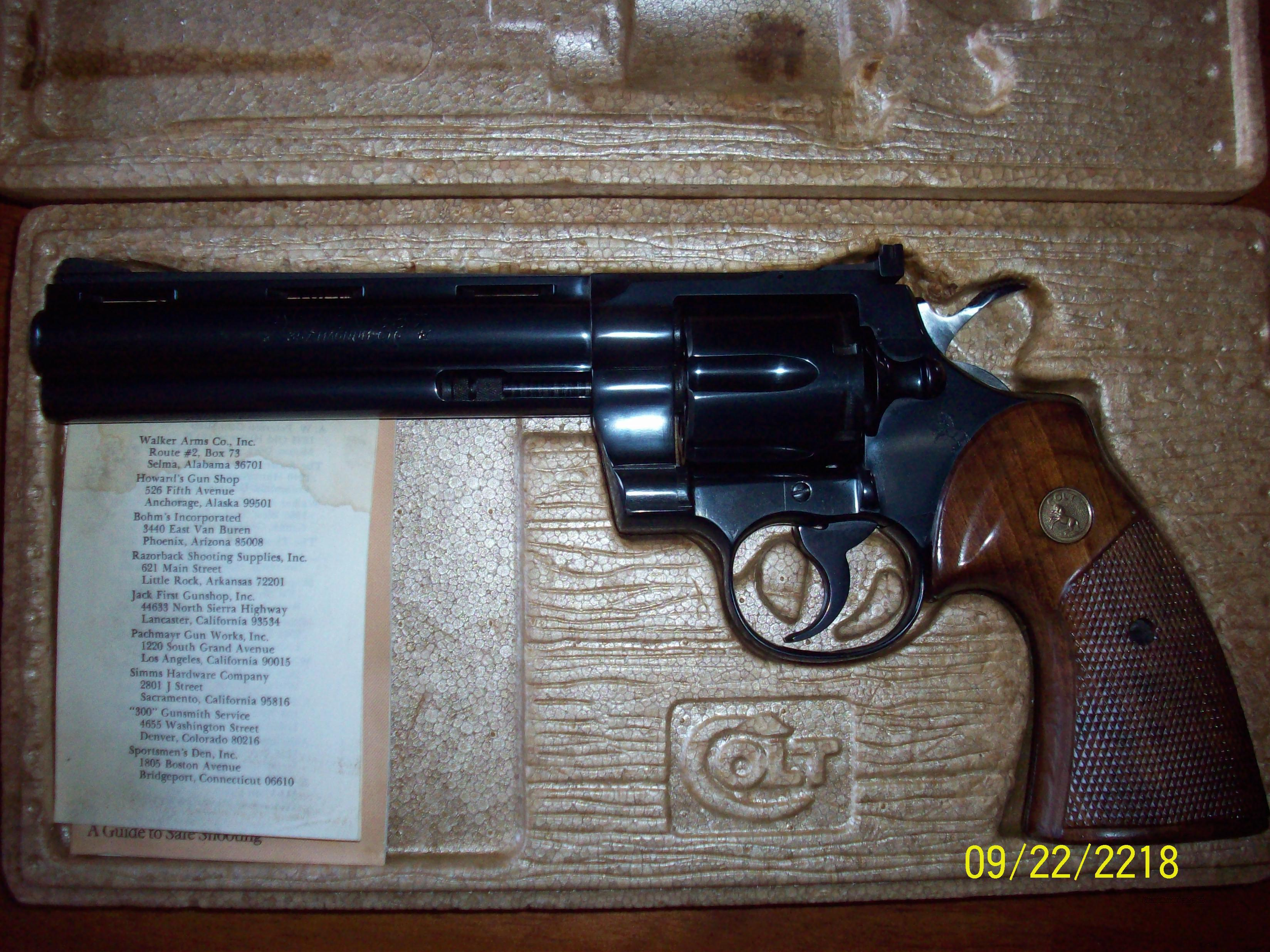 "Colt Python 6"" barrel .38 special/.357 magnum 6-shot double action revolver  Guns > Pistols > Colt Double Action Revolvers- Modern"