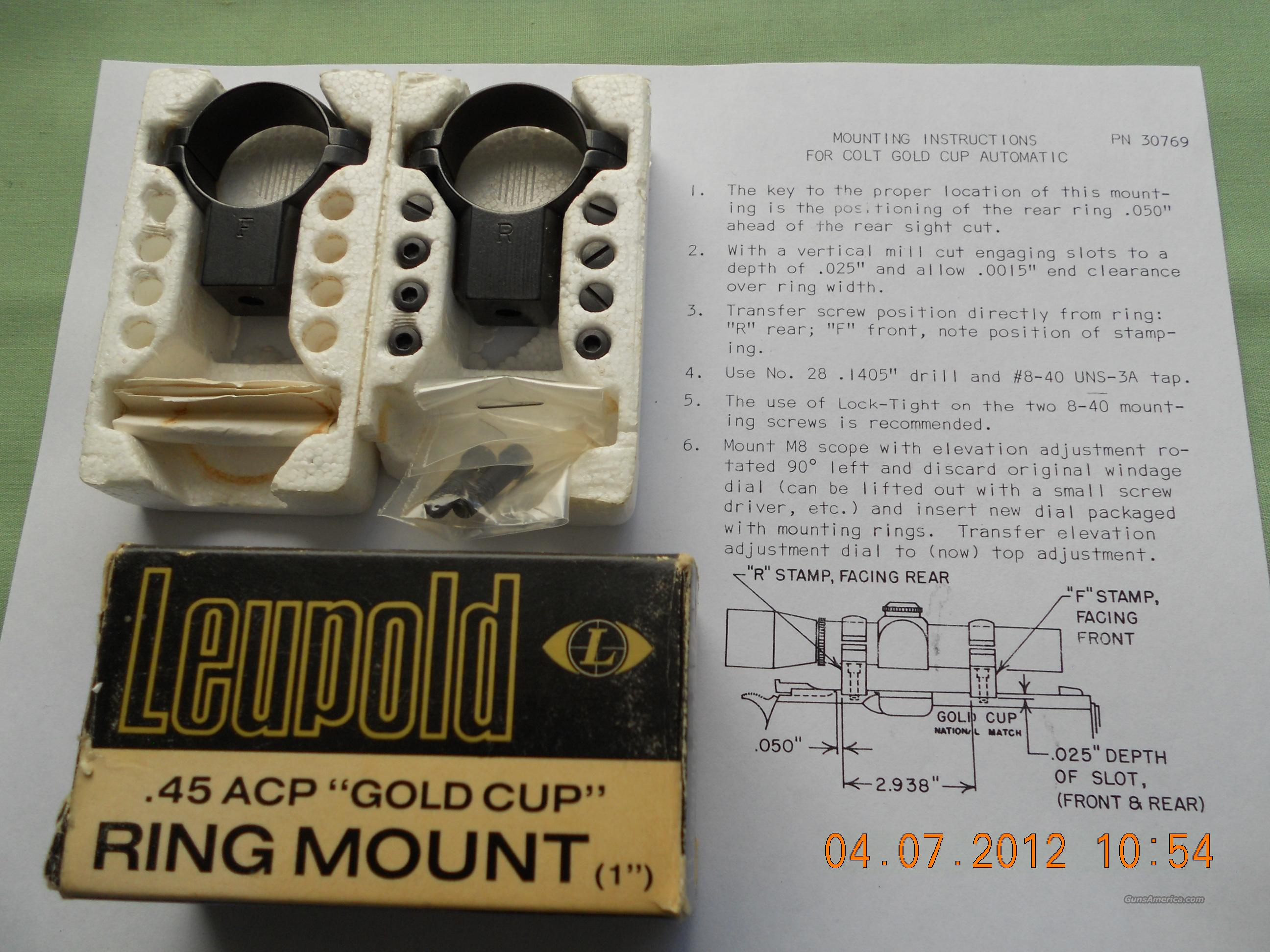 "LEUPOLD .45 ACP ""GOLD CUP"" RING MOUNT 1""   Non-Guns > Scopes/Mounts/Rings & Optics > Mounts > Other"