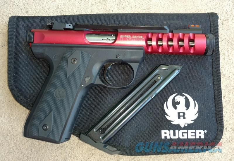 Ruger 22/45 Lite with Red Anodized slide .22lr Fiber optic sights  Guns > Pistols > Ruger Semi-Auto Pistols > 22/45