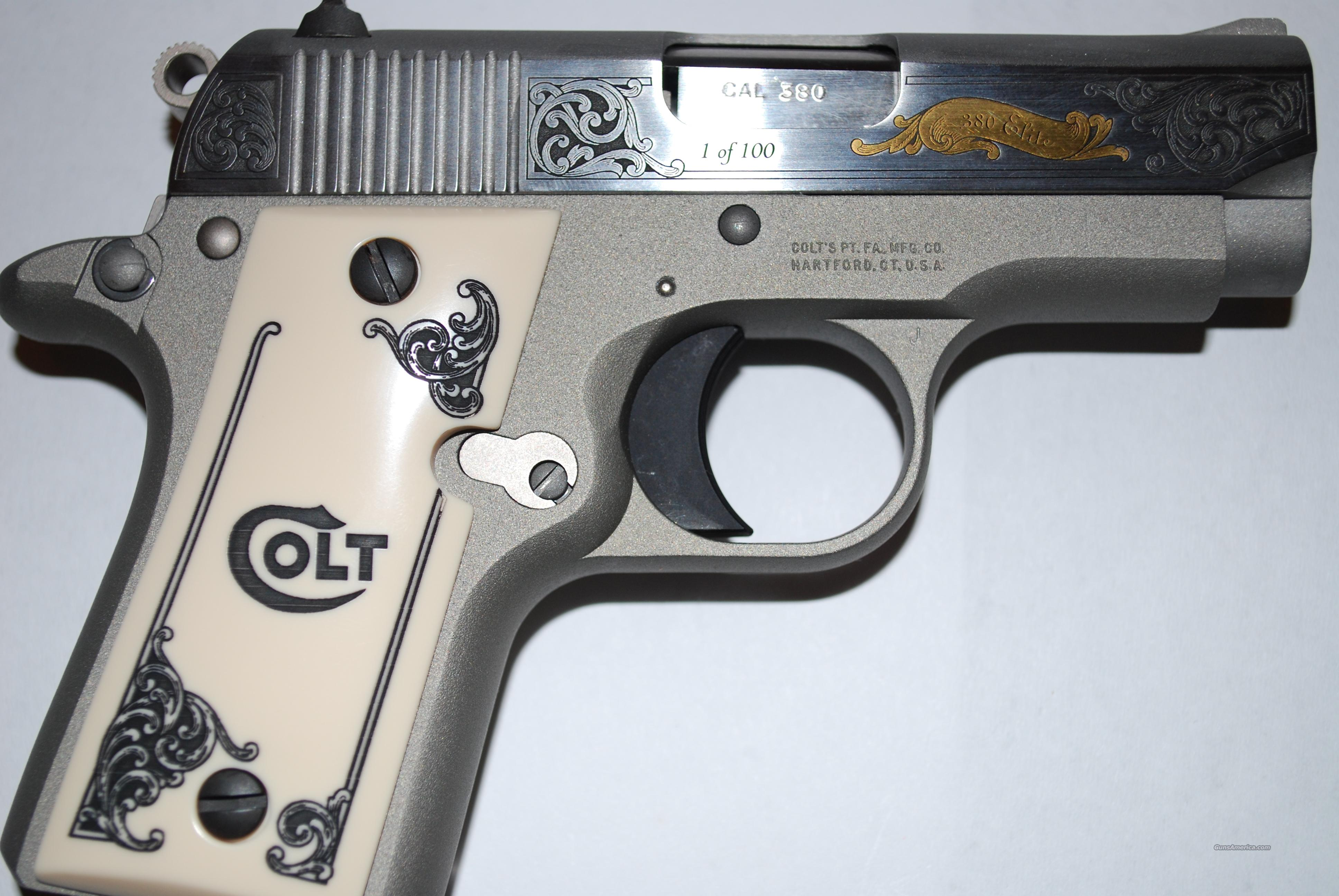 RARE 1 of 100 Engraved Colt Mustang ELITE 380 ACP ~ LIMITED EDITION ~ Mint (Unfired) Condition  Guns > Pistols > Colt Automatic Pistols (.25, .32, & .380 cal)