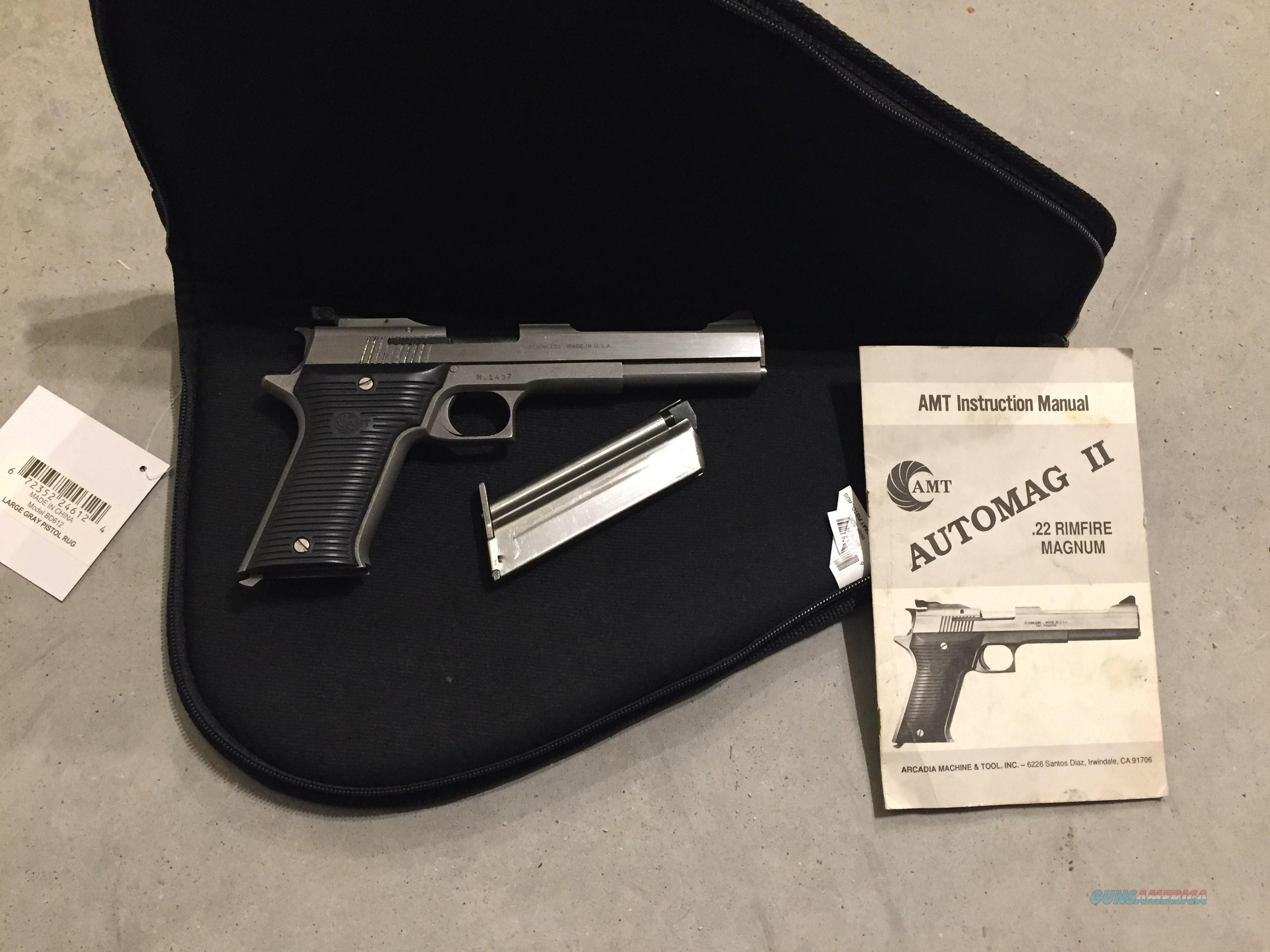 AMT Automag II in .22WMR (.22 Magnum) Stainless barrel and slide excellent condition in soft case  Guns > Pistols > AMT Pistols > Other