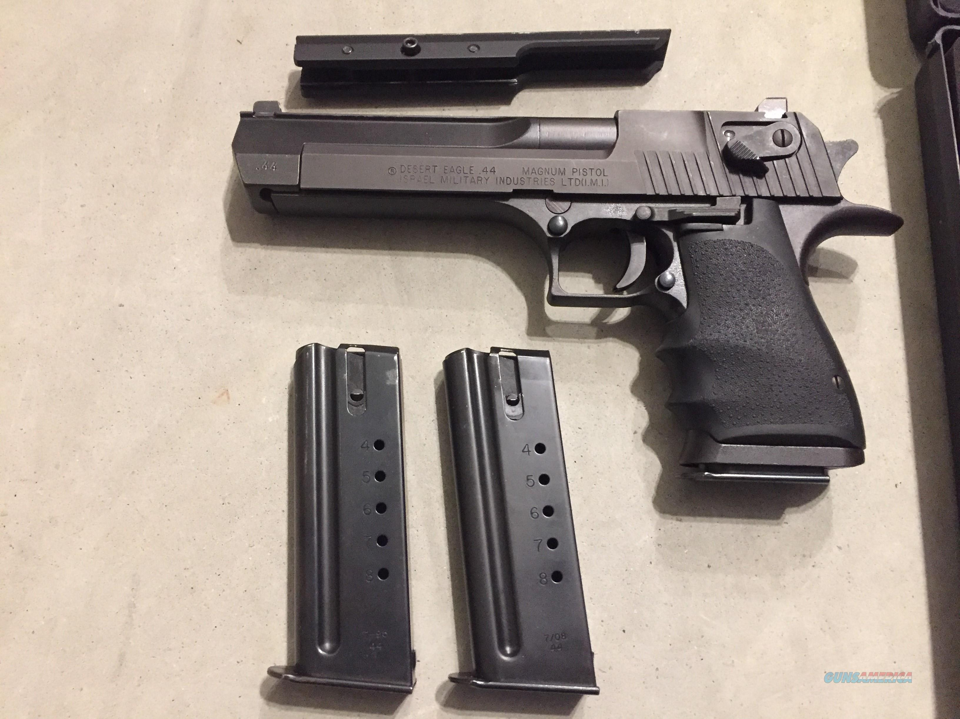 Magnum Research Desert Eagle (made in Israel) .44 Magnum w/3 magazines,night sights, optics mount, Desert Eagle Like New in case (No card fees added )  Guns > Pistols > Magnum Research Pistols