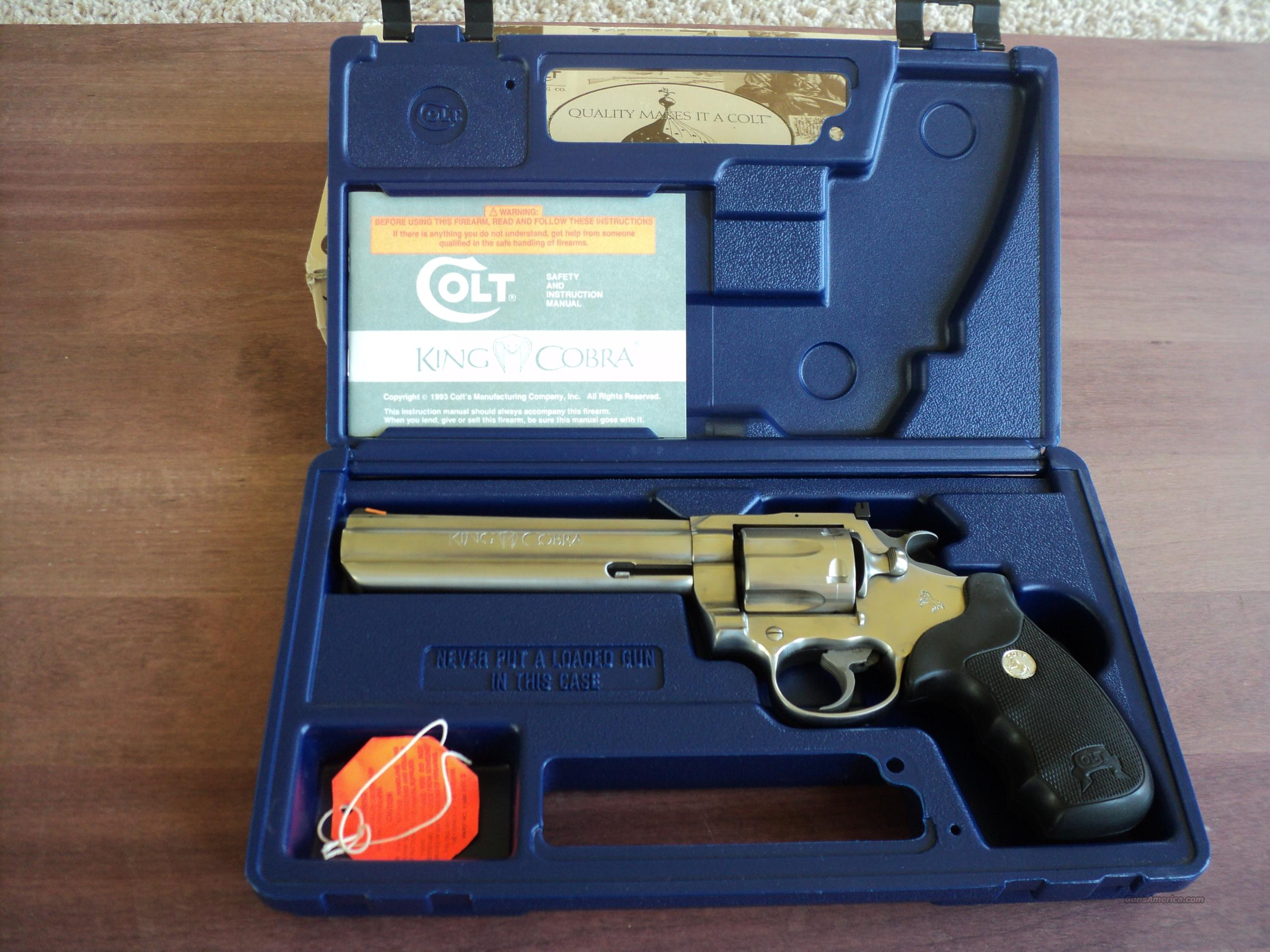 "Colt King Cobra 6"" Stainless with Case  Guns > Pistols > Colt Double Action Revolvers- Modern"