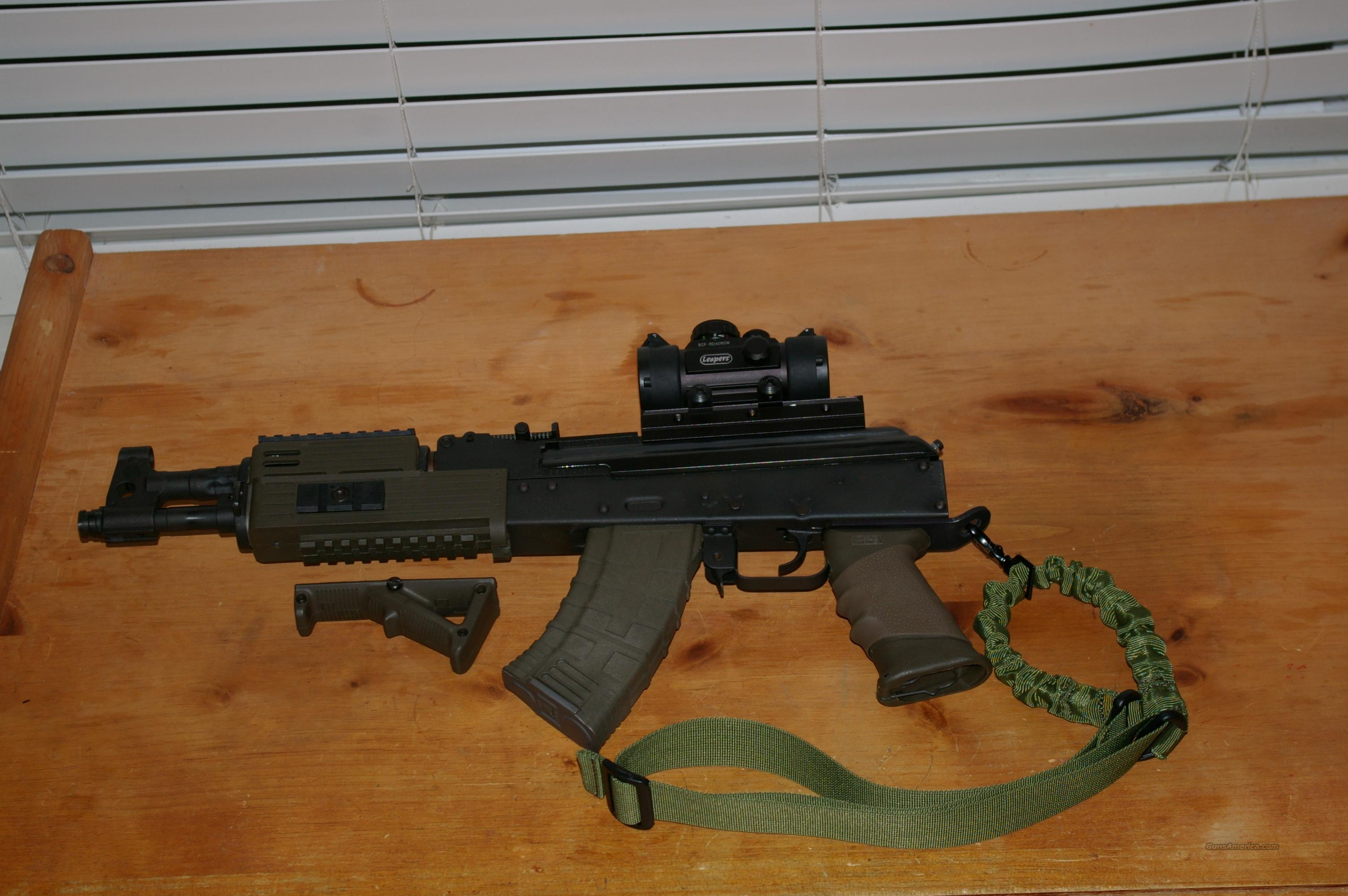 Tactical AK47 7.62x39 Draco Pistol with many upgrades and extras, sling conversion, dust cover conversion, optic, etc.  Guns > Pistols > A Misc Pistols