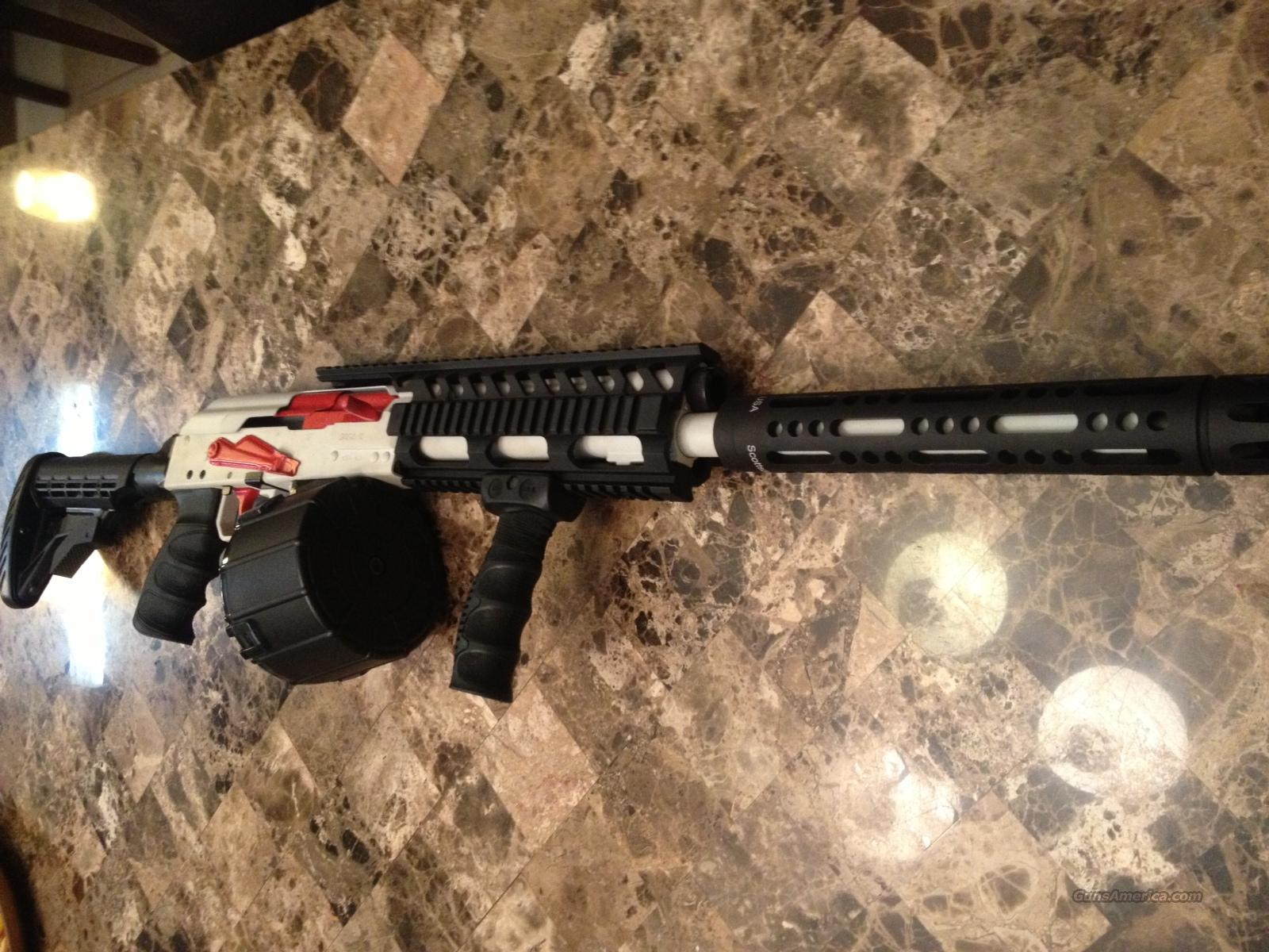 Total Custom Converted Saiga 12 gauge 12ga Ceramic Cerakoted Tactical drum Shotgun with tons of upgrades and extras! Make offer. Not AR-15 AK47 Scar PS90 FN 5 7   Guns > Shotguns > Saiga Shotguns > Shotguns