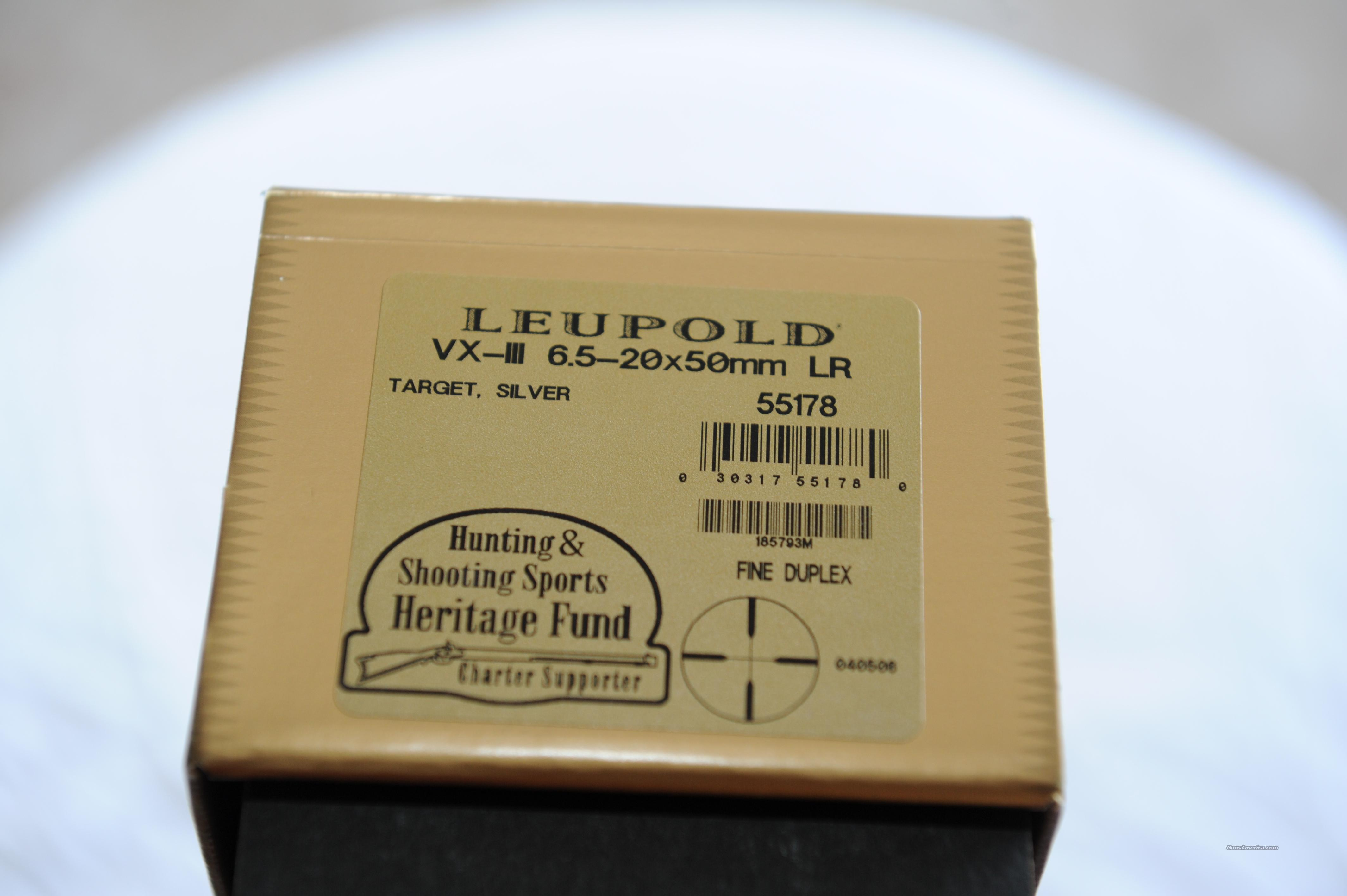 Leupold #55178 6.5-20 x 50 target Silver fine duplex  Non-Guns > Scopes/Mounts/Rings & Optics > Rifle Scopes > Variable Focal Length